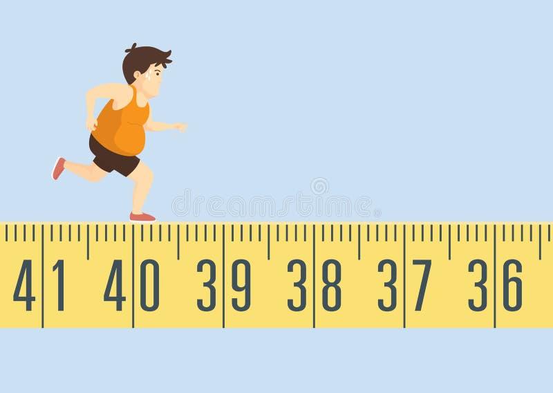 Homem gordo que movimenta-se na fita métrica ilustração stock