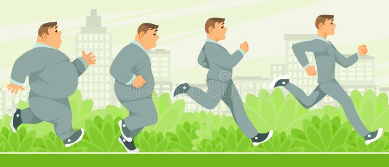 Homem gradual da perda de peso ilustração do vetor