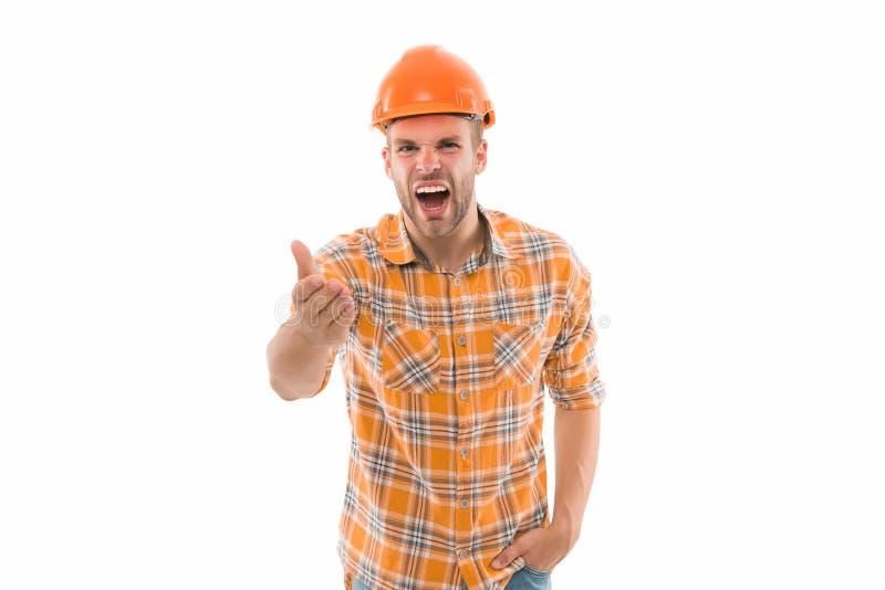 Homem gritando Chapéu duro de homem Handyman na oficina Cara agressivo zangado Melhoria e renovação Construtor de homens imagens de stock royalty free