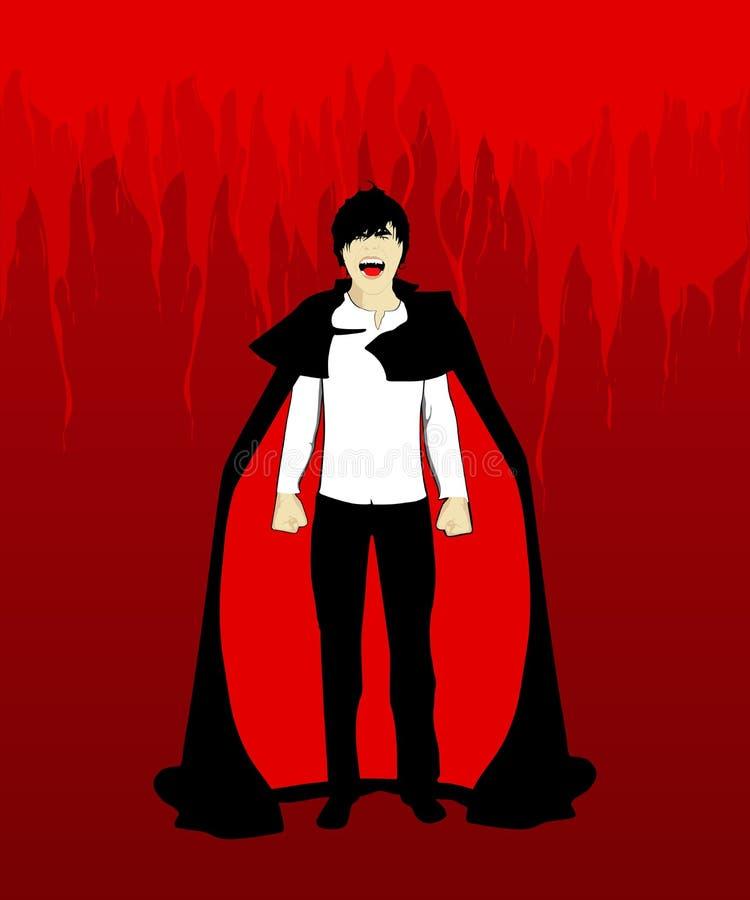 Homem gritando do vampiro ilustração do vetor
