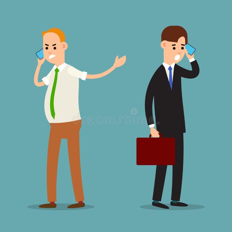 Homem gritando no telefone Uma comunicação empresarial emocional Comportamento agressivo de um homem de negócios Situação fatigan ilustração do vetor