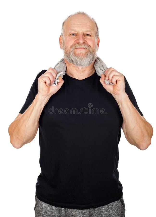 Homem idoso após a sessão do gym fotos de stock
