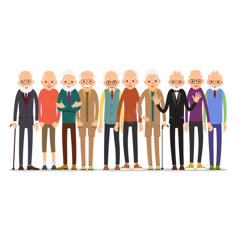 Homem idoso Caráter do homem mais idoso em várias poses Homem no terno, shir ilustração do vetor