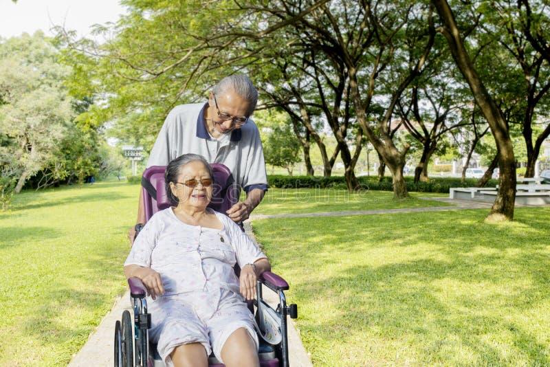 Homem idoso com sua esposa no parque imagens de stock