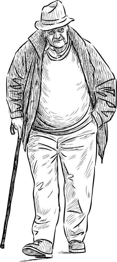 Homem idoso com um bastão ilustração royalty free