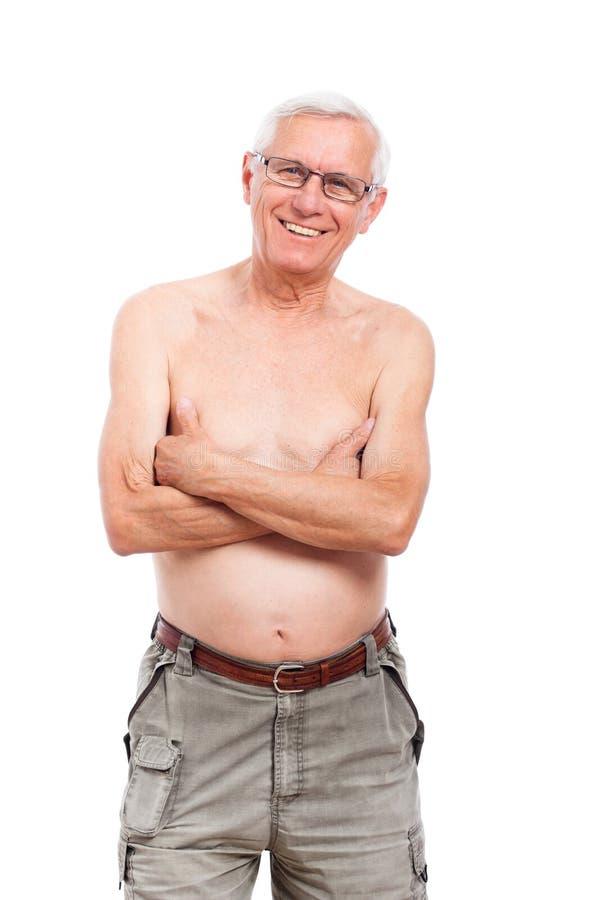 Homem idoso despido de sorriso feliz foto de stock