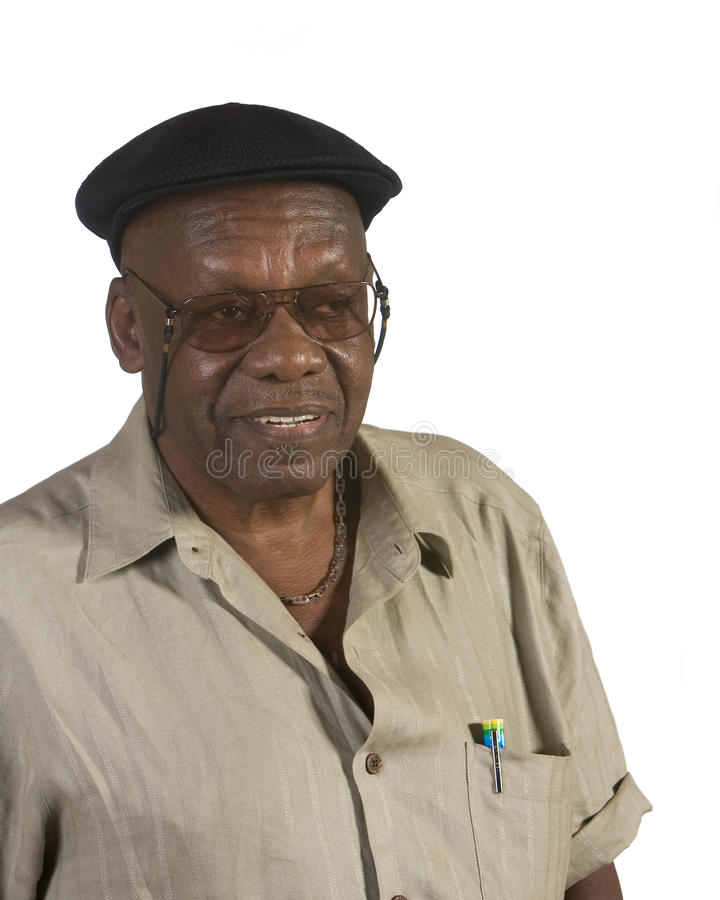 Homem idoso do americano africano com boina fotografia de stock royalty free