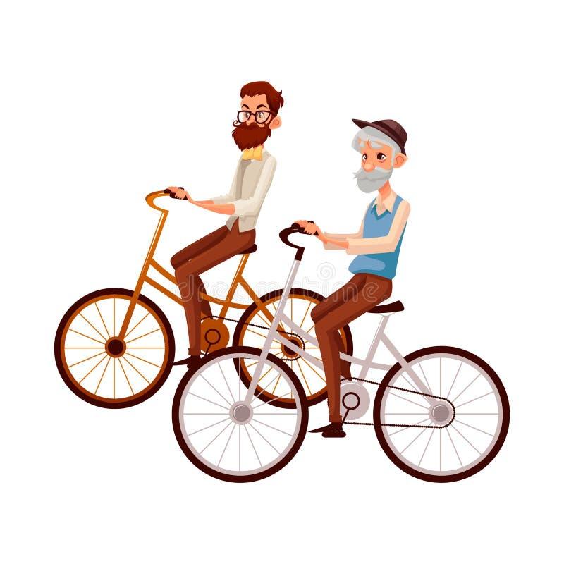 Homem idoso e novo, avô e neto, bicicleta de montada ilustração royalty free
