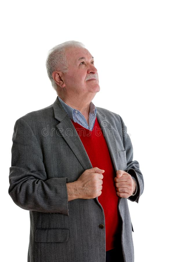 Homem idoso pensativo que está de vista acima fotos de stock royalty free