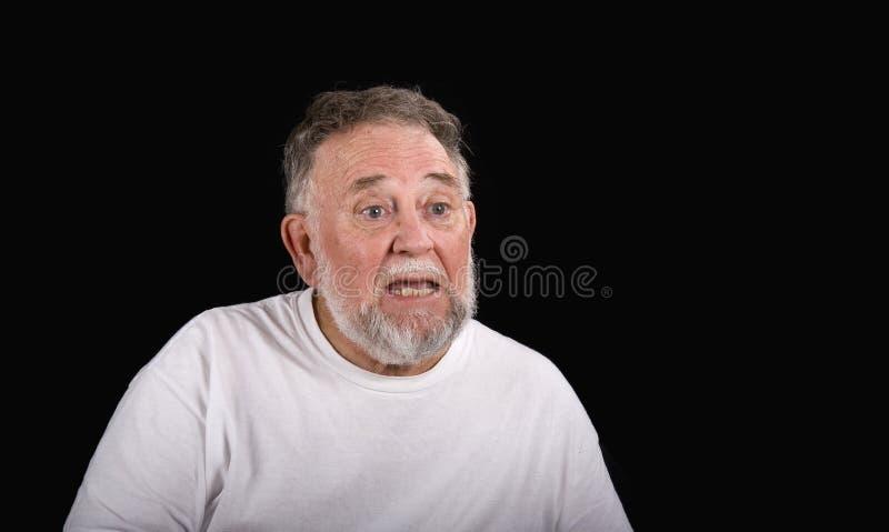 Homem idoso Perplexed fotografia de stock royalty free