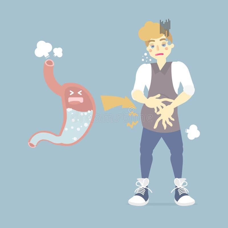 Homem inchado, com gases no estômago, arrotos, peidos, doença, saúde conceito infográfico ilustração do vetor