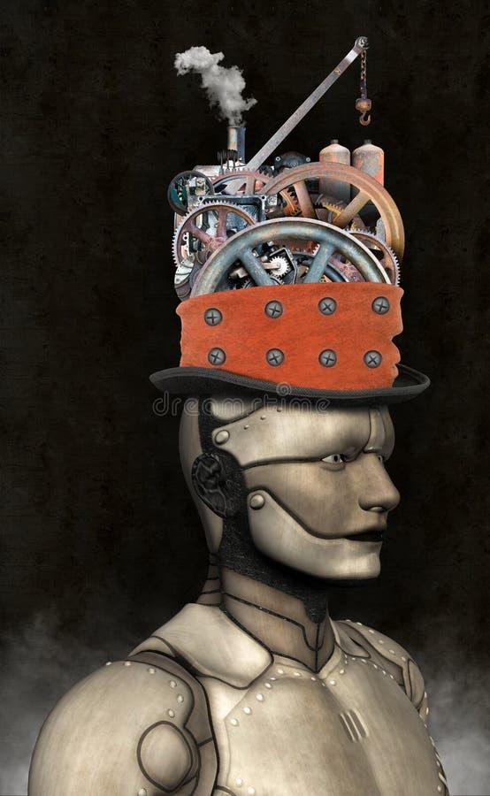 Homem industrial da máquina do robô de Steampunk ilustração do vetor