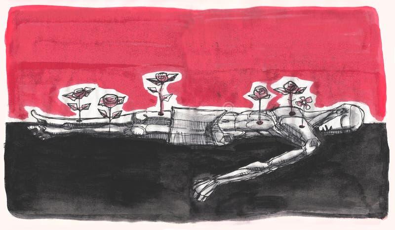 Homem inoperante com as flores em suas feridas ilustração stock