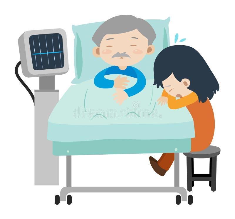 Homem inoperante no grito da cama e da menina de hospital ilustração stock