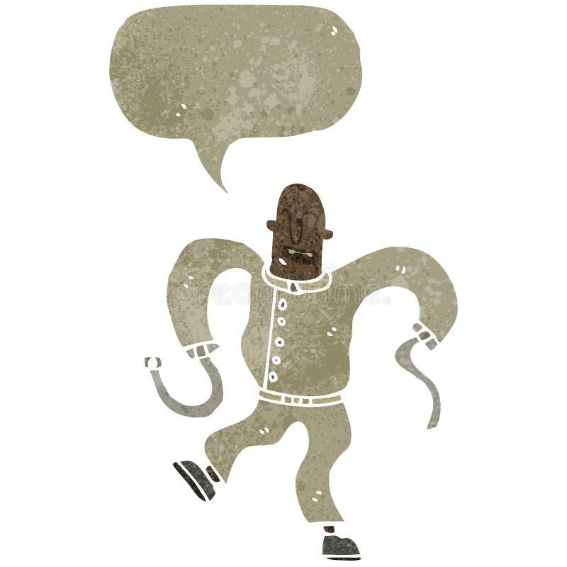 homem insano dos desenhos animados retros no revestimento reto ilustração do vetor