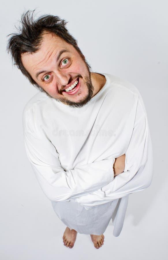 Homem insano no strait-jacket fotos de stock