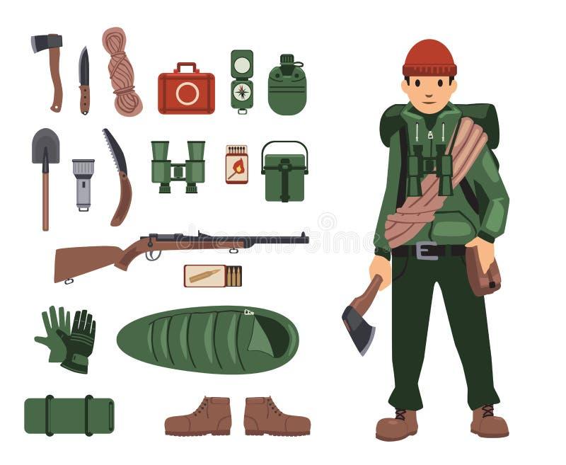 Homem inteiramente bushcraft-equipado com artigos isolados do bushcraft próximo Kit de sobrevivência nos detalhes Grupo de imagen ilustração royalty free