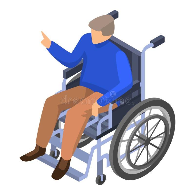 Homem inválido no ícone da cadeira de rodas, estilo isométrico ilustração royalty free