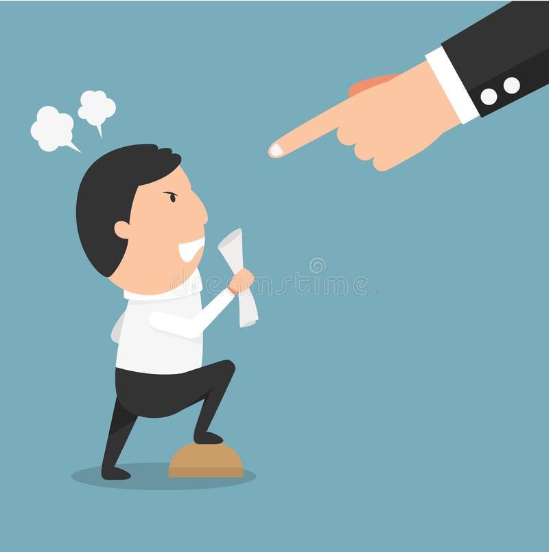 Homem irritado do chefe- que tem o argumento sério com seu chefe ilustração royalty free
