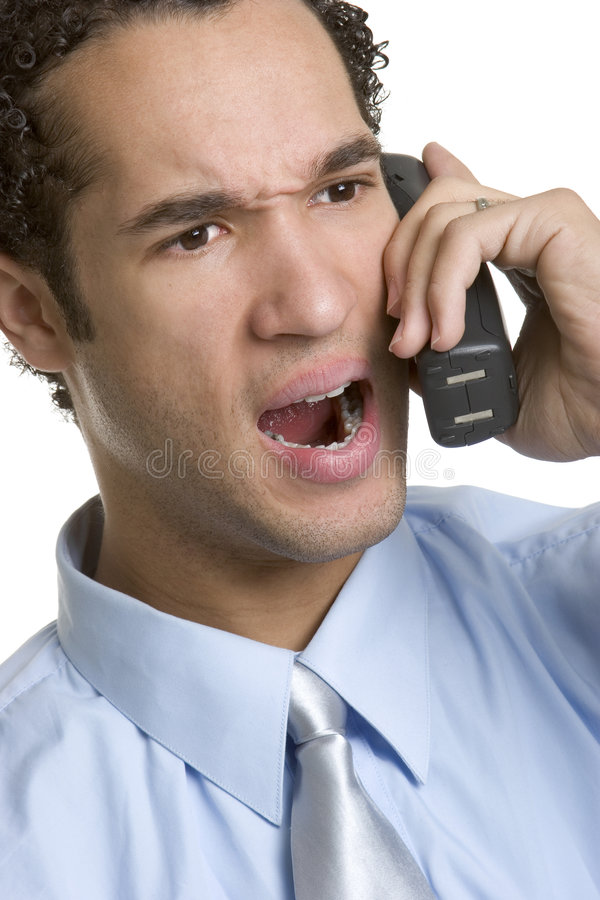 Homem irritado do telefone imagem de stock royalty free