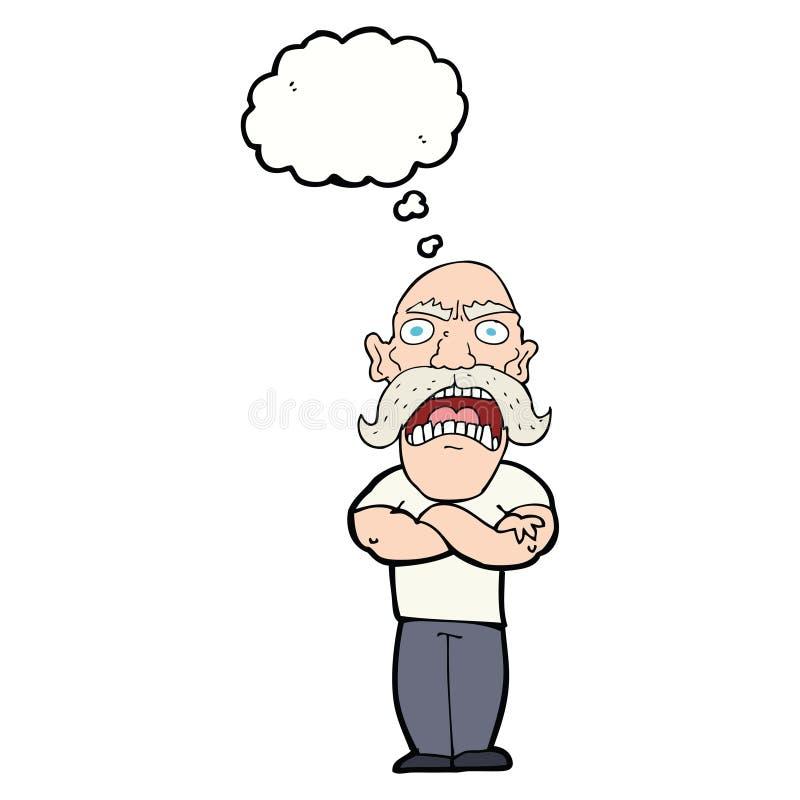 homem irritado dos desenhos animados com bolha do pensamento ilustração royalty free