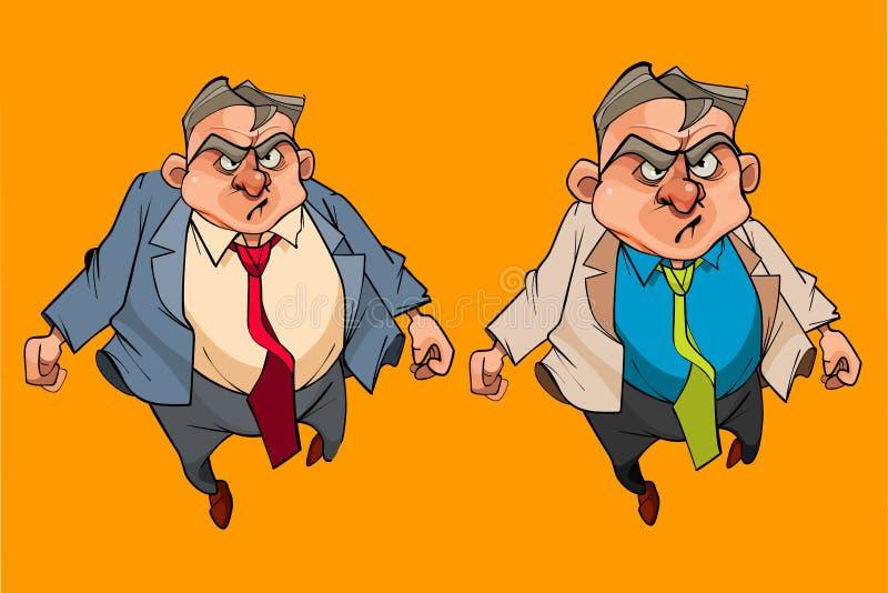 Homem irritado dos desenhos animados em um terno com laço ilustração do vetor