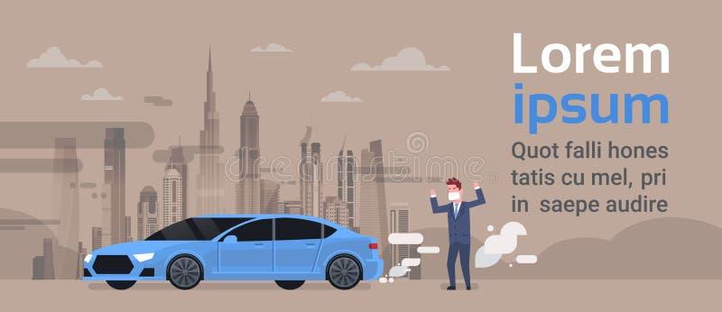 Homem irritado em emissões do carro da máscara do dióxido de carbono dos gáss da exaustão sobre a atmosfera da paisagem da cidade ilustração royalty free