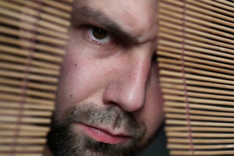 Homem irritado no jalousie imagem de stock royalty free