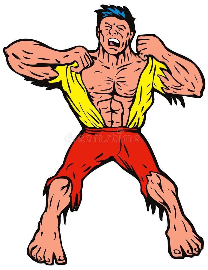 Homem irritado que rasga-se fora da camisa ilustração do vetor