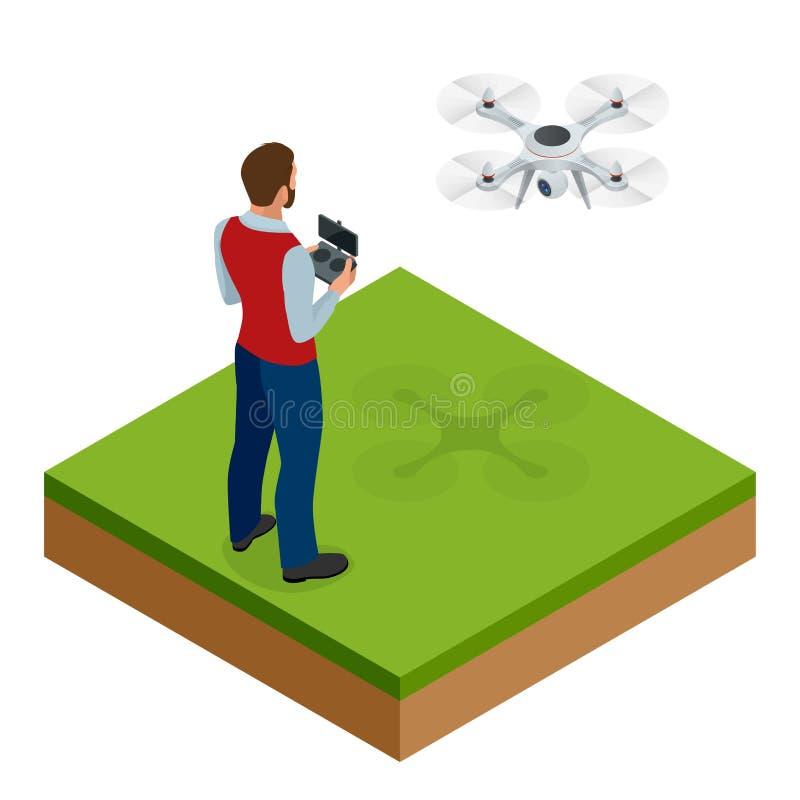 Homem isométrico com quadrocopter do zangão, zangão aéreo remoto com uma câmera que toma a fotografia ou a gravação de vídeo jogo ilustração royalty free