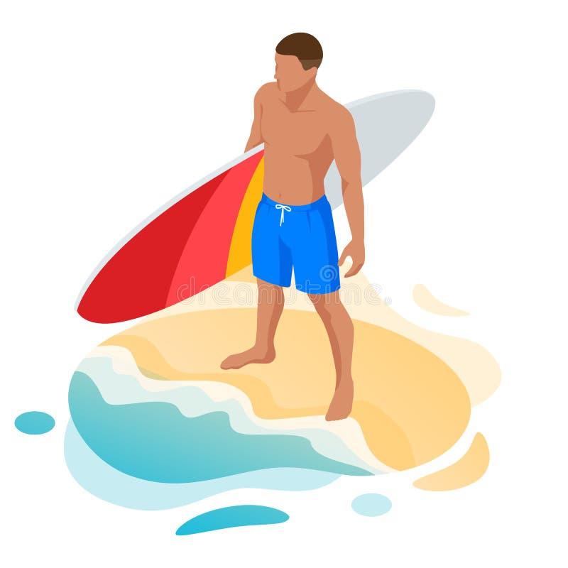 Homem isométrico do surfista Surfar em f?rias de ver?o Homem novo bonito na praia, esportes de água, ativo saudável ilustração royalty free