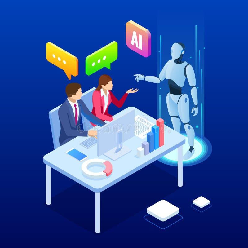 Homem isométrico e mulher com inteligência artificial de robô trabalhando, robô trabalhando com tela virtual RPA, artificial ilustração stock