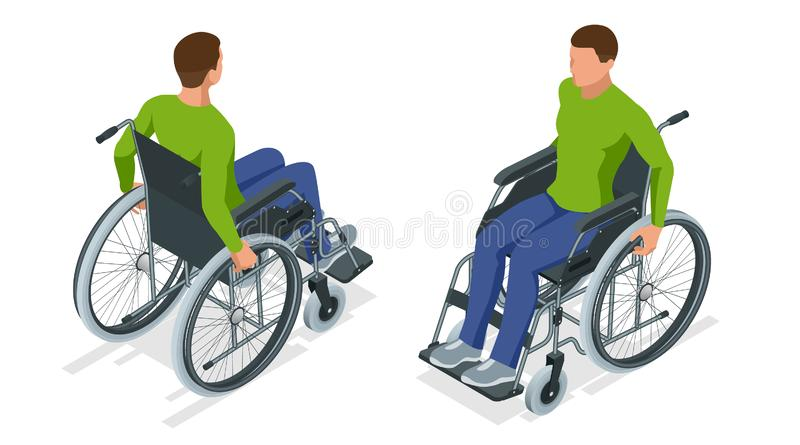 Homem isométrico em uma cadeira de rodas usando uma rampa isolada Cadeira com as rodas, usadas quando andar for dívida difícil ou ilustração do vetor