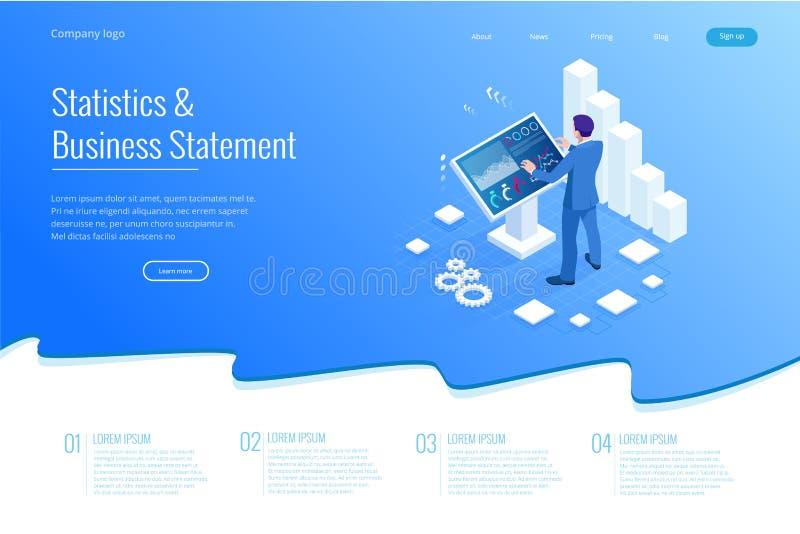Homem isométrico na frente da tela grande para a análise de dados Estatísticas e indicação do negócio, painel da analítica ilustração stock