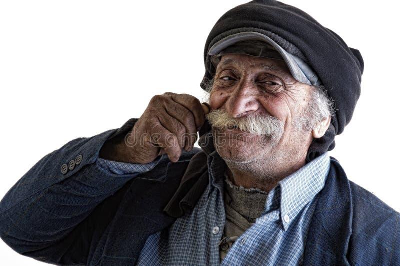 Homem libanês tradicional idoso com bigode foto de stock