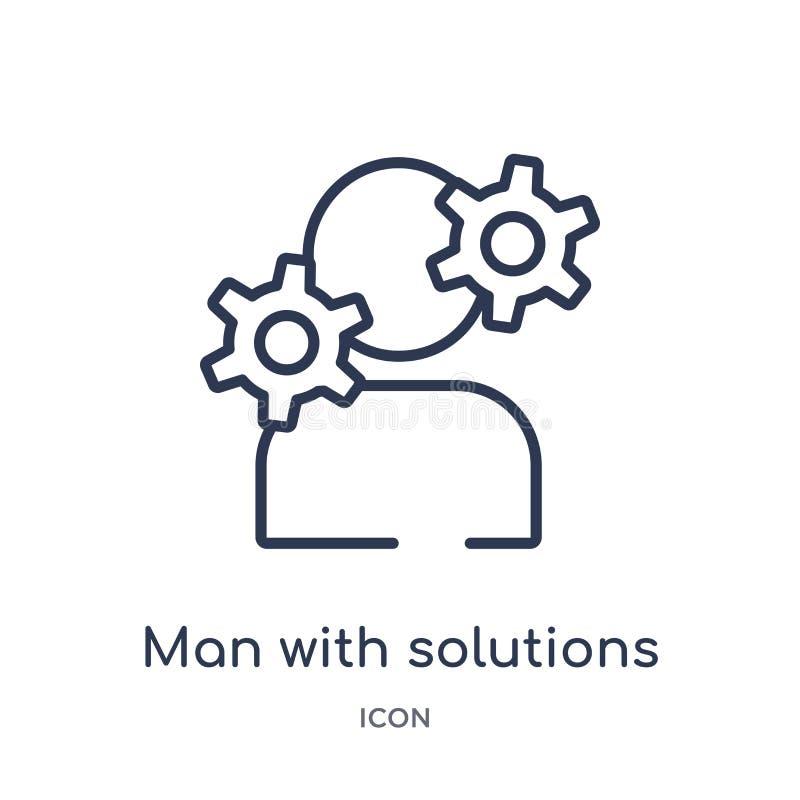 Homem linear com ícone das soluções da coleção do esboço do negócio Linha homem fina com o ícone das soluções isolado no fundo br ilustração royalty free