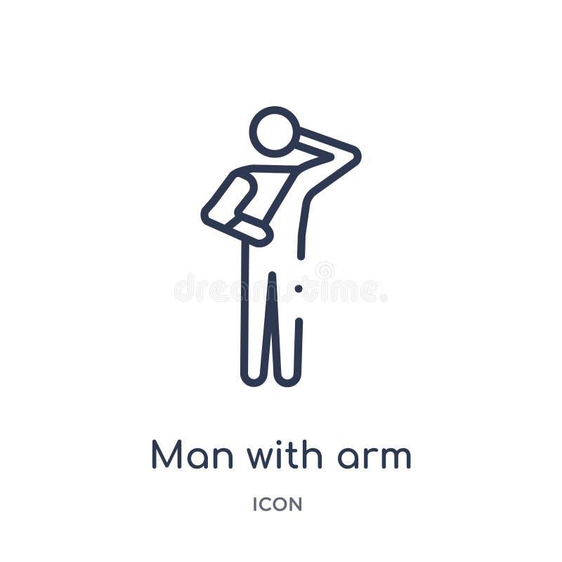 Homem linear com ícone de ferimento do braço da coleção médica do esboço Linha homem fina com o ícone de ferimento do braço isola ilustração stock