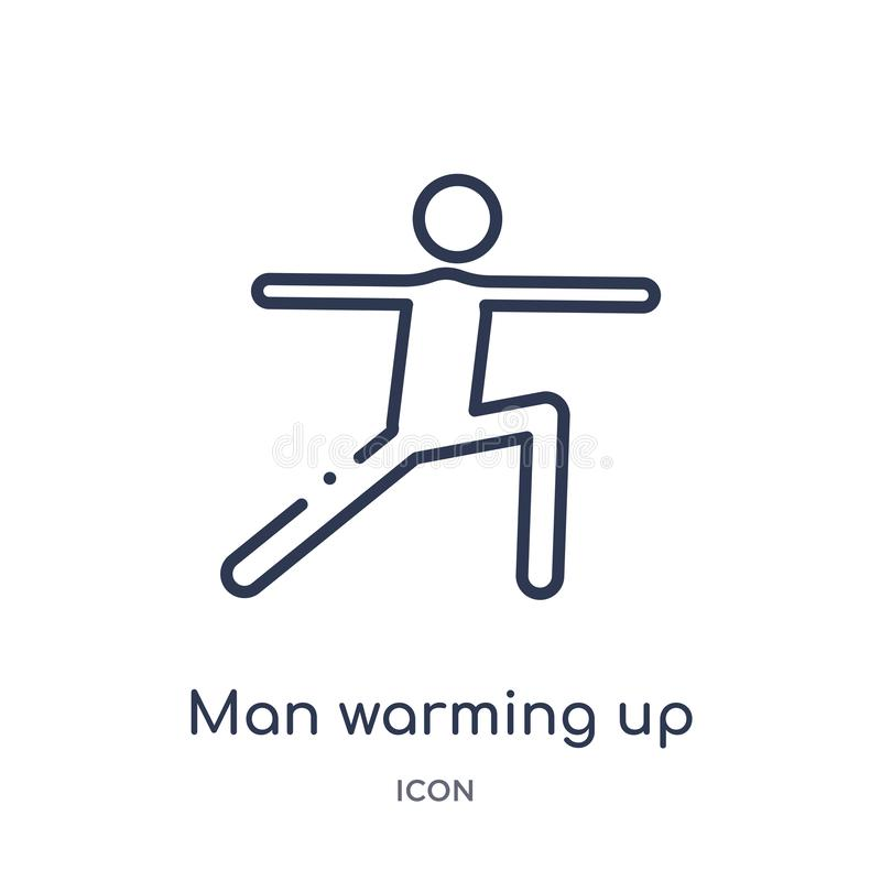 Homem linear que aquece o ícone da coleção do esboço do comportamento Linha homem fina que aquece o vetor isolado no fundo branco ilustração do vetor