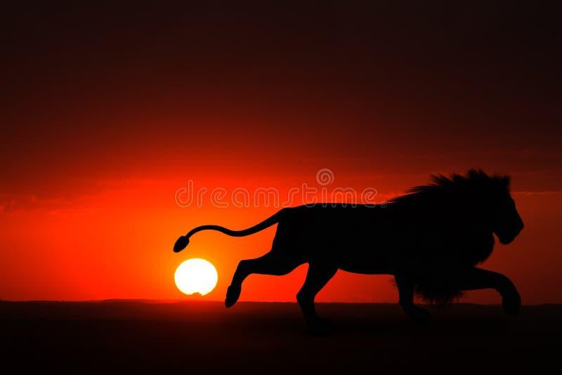 Homem Lion Sunset Illustration de África ilustração stock