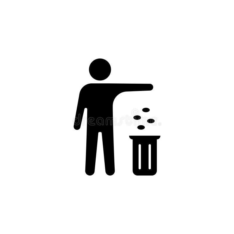 Homem, lixo de jogo em um escaninho ilustração stock