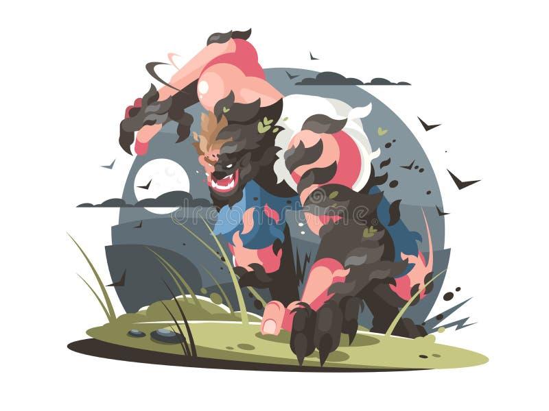 Homem-lobo a girar do homem para o lobo ilustração stock
