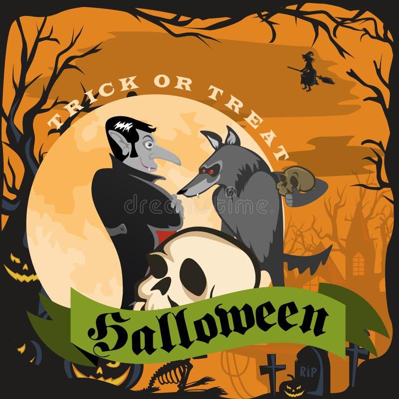 Homem-lobo que guarda o crânio com o vampiro o Dia das Bruxas no cemitério andre o fundo da Lua cheia, lobo do horror na noite ilustração royalty free