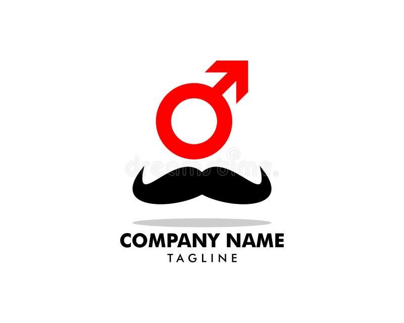Homem Logo Template Design do bigode ilustração do vetor