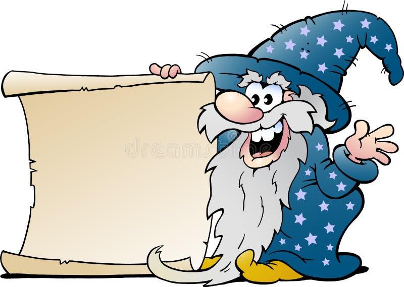 Homem mágico do feiticeiro idoso feliz com um rolo de papel ilustração royalty free