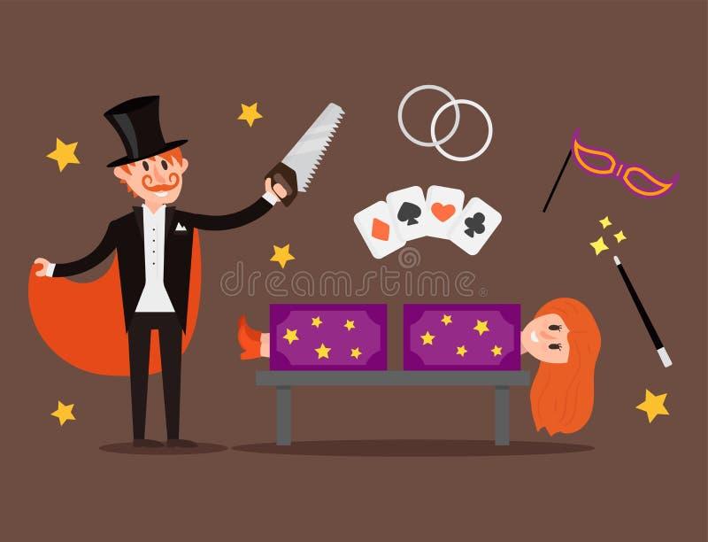 Homem mágico dos desenhos animados da mostra do mágico da ilustração do vetor do juggler dos truques do caráter do ilusionista do ilustração do vetor