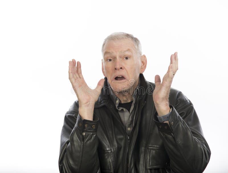 Homem maduro com expressão da descrença fotos de stock