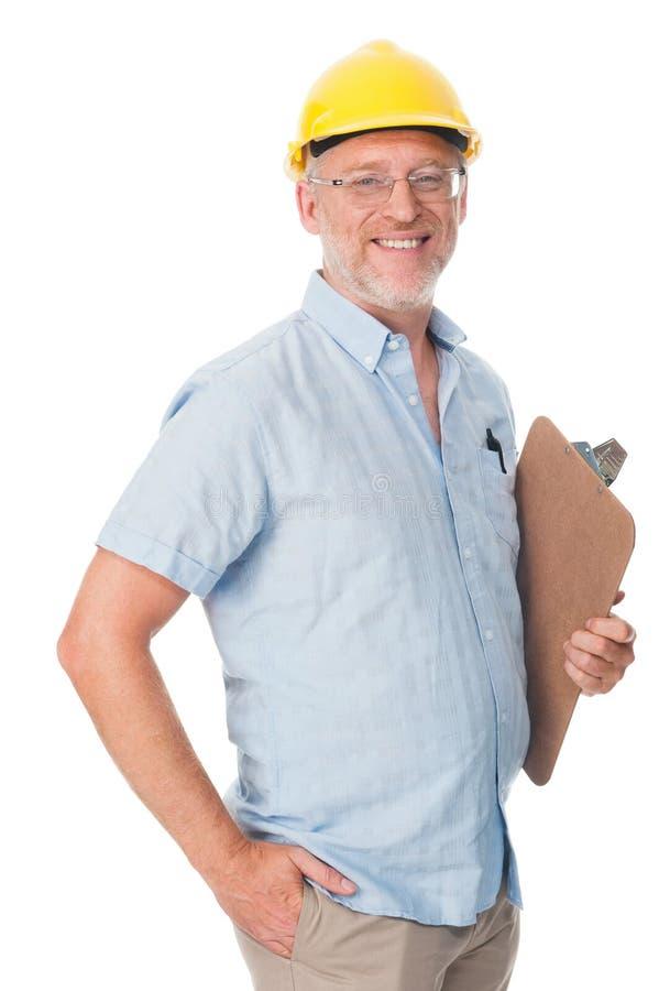 Homem maduro da construção foto de stock