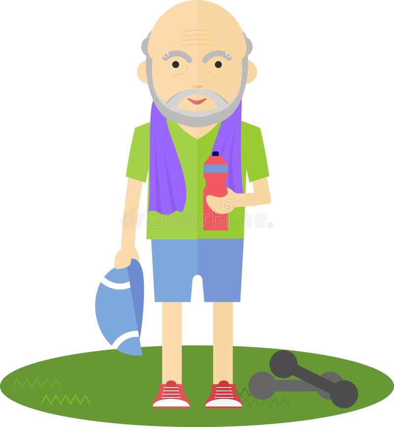 Homem mais idoso que bebe após o esporte ilustração royalty free