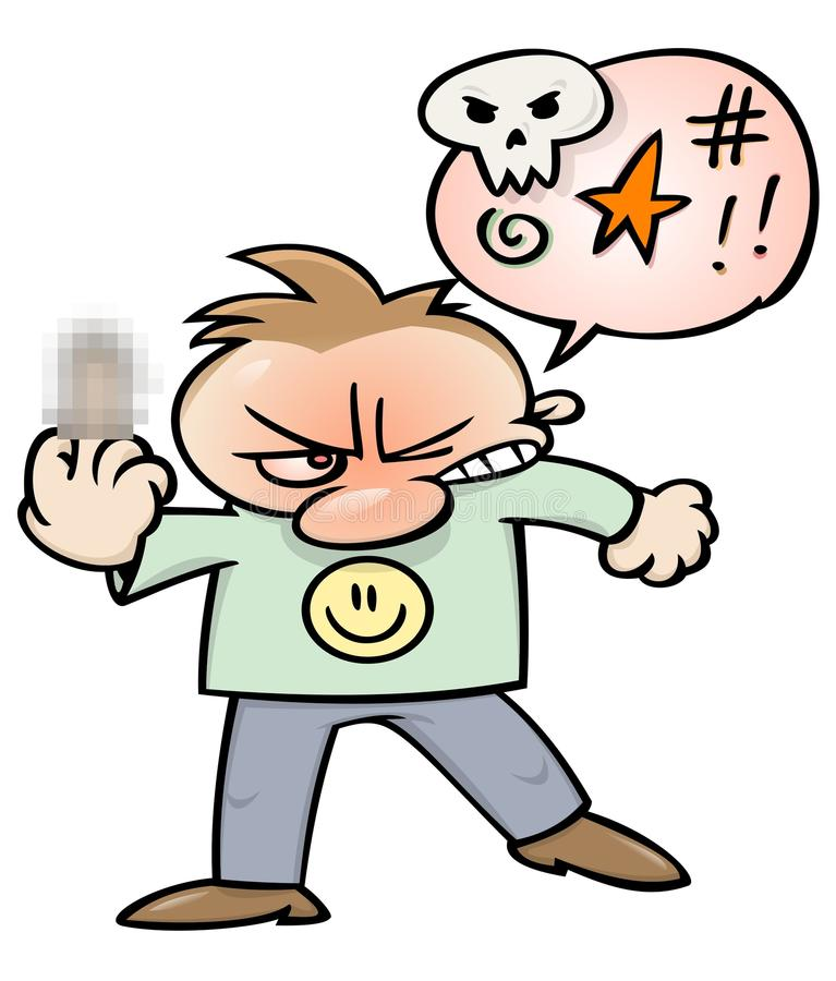 Homem maldizendo irritado ilustração royalty free