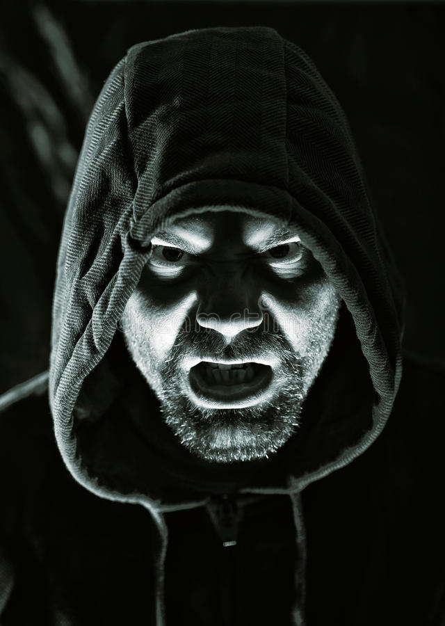 Homem mau assustador imagens de stock